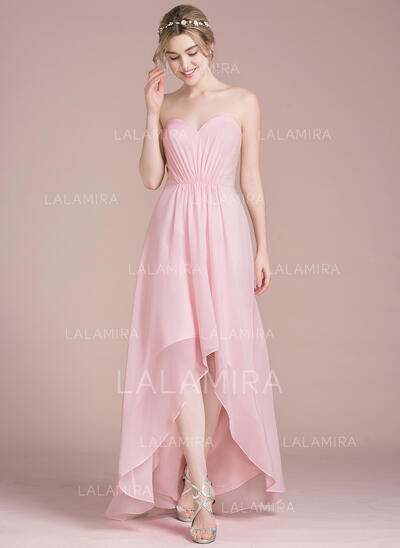 A-Line Sweetheart Asymmetrical Chiffon Bridesmaid Dress (007104735)