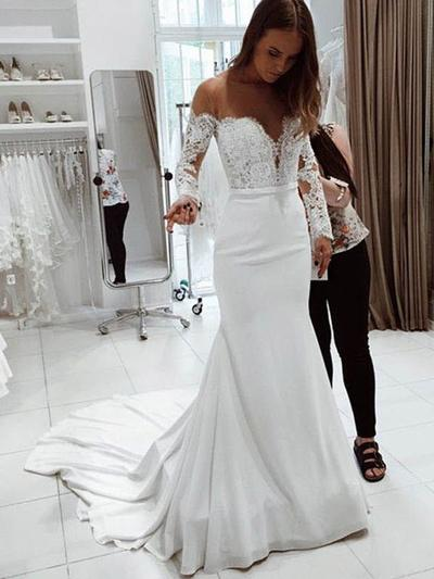 431d7f20b5478 Trumpet/Mermaid Off-The-Shoulder Court Train Wedding Dresses With Lace  (002218058