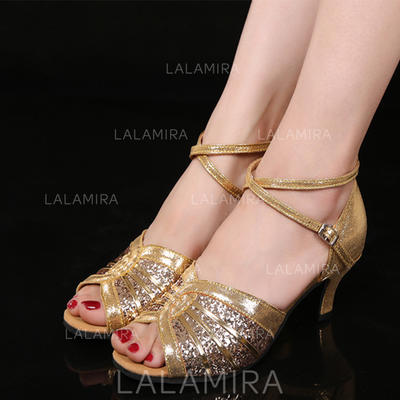 Women's Latin Heels Leatherette Sparkling Glitter With Buckle Dance Shoes (053180853)