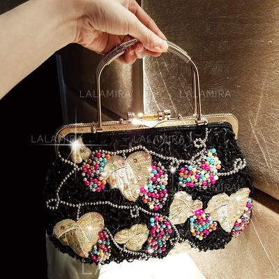 Totes Ceremony & Party/Casual & Shopping Silk Snap Closure Elegant Clutches & Evening Bags (012187701)