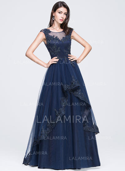 Sleeveless A-Line/Princess Tulle Scoop Neck Prom Dresses (018210657)