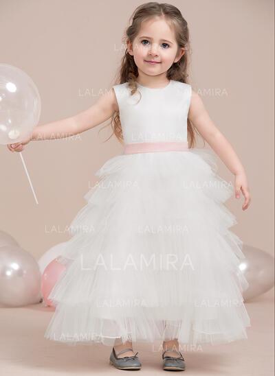 A-Line/Princess Ankle-length Flower Girl Dress - Satin/Tulle Sleeveless Scoop Neck (010115800)