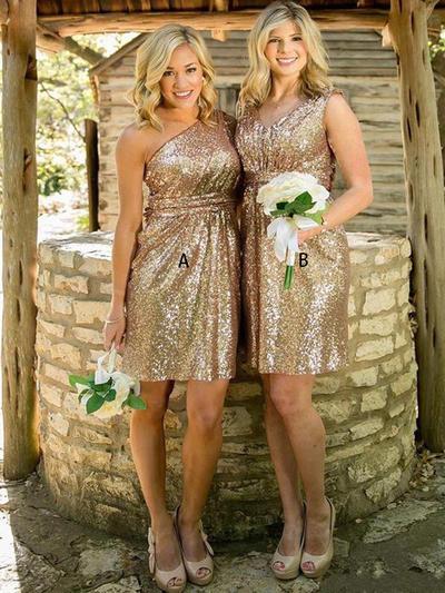 A-Line/Princess Sleeveless One-Shoulder V-neck Sequined Bridesmaid Dresses (007144981)