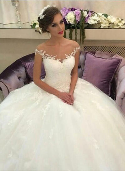 Court Train Ball-Gown Regular Straps - Tulle Lace Wedding Dresses (002146261)
