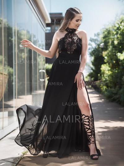 Tirantes comunes Gasa Cabestro Corte A/Princesa Vestidos de baile de promoción (018218106)