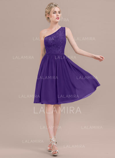 A-Line/Princess One-Shoulder Knee-Length Chiffon Lace Bridesmaid Dress (007116635)