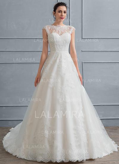 Encaje Corte de baile con Lujoso General Grande Vestidos de novia (002117034)