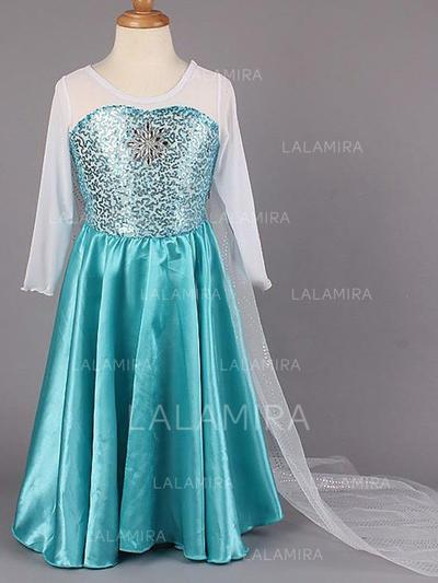 Scoop Neck A-Line/Princess Flower Girl Dresses Chiffon/Taffeta Beading Long Sleeves Floor-length (010211963)