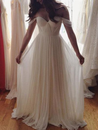 A-Line/Princess Off-the-Shoulder Floor-Length Chiffon Prom Dresses With Ruffle (018217453)