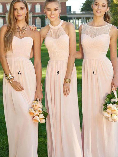 A-Line/Princess Chiffon Bridesmaid Dresses Ruffle Sweetheart Sleeveless Floor-Length (007211585)