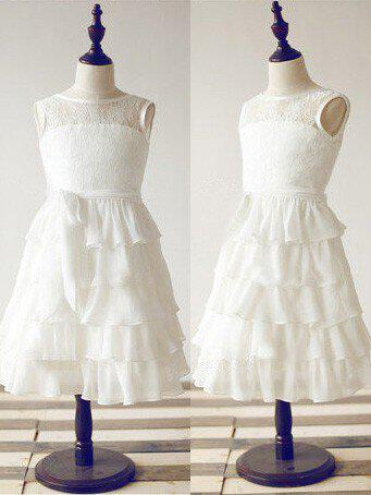 1922e89aa86 Scoop Neck A-Line Princess Flower Girl Dresses Chiffon Lace Ruffles Sash