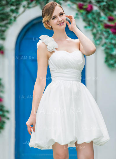 Regular Straps Sleeveless One Shoulder With Taffeta Wedding Dresses (002210563)