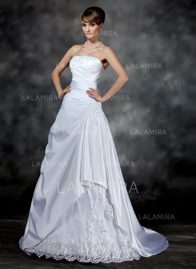 Ruffle Beading Appliques Sleeveless Strapless Satin A-Line/Princess Wedding Dresses (002196897)