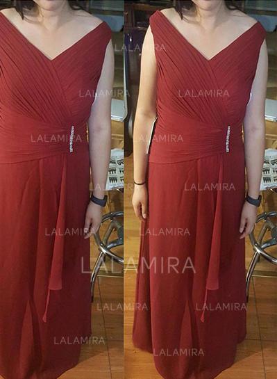 Corte A/Princesa Escote en V Gasa Moda Vestidos de madrina (008212793)