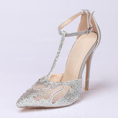 8cfbbc6c273047 Femmes Bout fermé Escarpins Talon stiletto Suède avec Strass Chaussures de  mariage (047086284)
