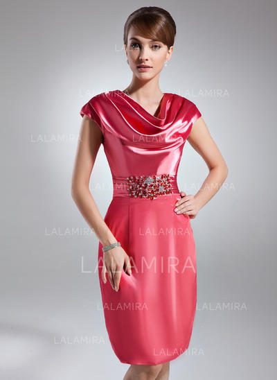 Sheath/Column Cowl Neck Knee-Length Charmeuse Cocktail Dresses With Ruffle Beading (016021262)
