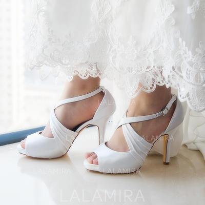 Women's Flip-Flops Pumps Sandals Dyeable Shoes Stiletto Heel Satin Yes Wedding Shoes (047208583)