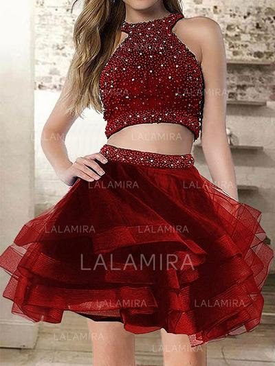 A-Line/Princess Scoop Neck Short/Mini Homecoming Dresses With Ruffle Beading (022216353)