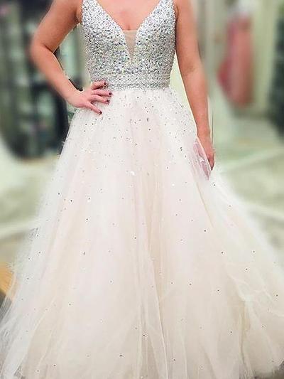 A-Line/Princess Tulle Prom Dresses Beading Sequins V-neck Sleeveless Floor-Length (018148454)