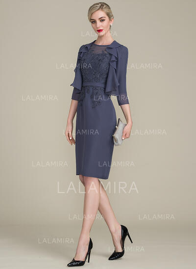 Sheath/Column Scoop Neck Knee-Length Chiffon Lace Mother of the Bride Dress (008107658)