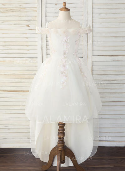 A-Line Asymmetrical Flower Girl Dress - Tulle/Lace Sleeveless Off-the-Shoulder (010193064)