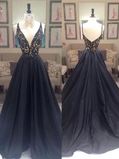 A-Line/Princess Taffeta Prom Dresses Beading V-neck Sleeveless Sweep Train (018210201)