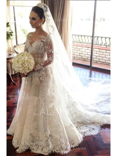 A-Line/Princess Lace Long Sleeves Scoop Court Train Wedding Dresses (002146957)
