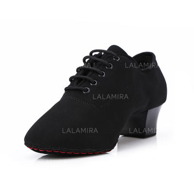 Women's Practice Heels Pumps Suede With Lace-up Dance Shoes (053178366)