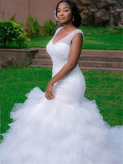 Sleeveless V-neck Cathedral Train Organza Wedding Dresses (002147858)