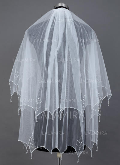 Fingertip Bridal Veils Tulle Two-tier Classic With Beaded Edge Wedding Veils (006151604)