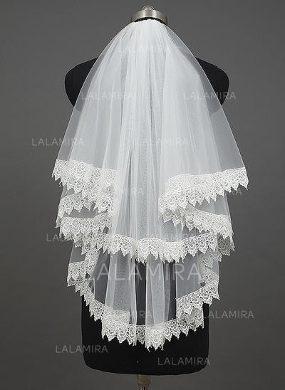 Elbow Bridal Veils Tulle Two-tier Classic With Lace Applique Edge Wedding Veils (006151206)