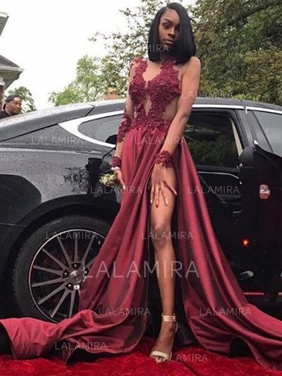 Satin Magnificent A-Line/Princess Sweep Train Prom Dresses (018218646)