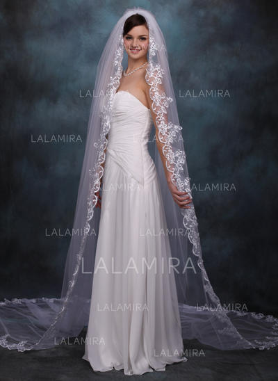 Cathedral Bridal Veils Tulle One-tier Oval/Drop Veil With Lace Applique Edge Wedding Veils (006150945)