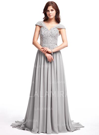 Chiffon Luxurious A-Line/Princess Sweep Train Prom Dresses (018025308)
