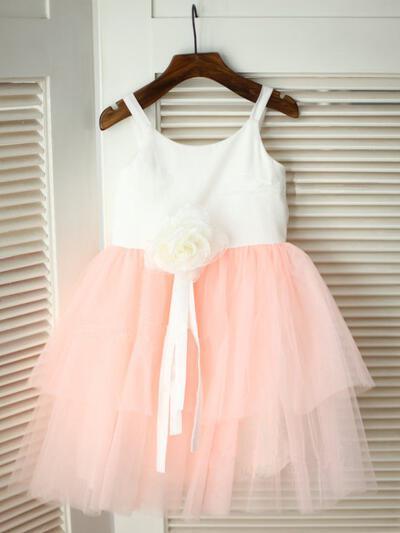 Satin/Tulle A-Line/Princess Flower(s) Beautiful Flower Girl Dresses (010211836)