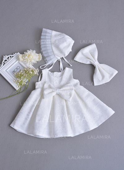 Encaje Escote redondo Cuentas Lazo(s) Vestidos de bautizo para bebés con Sin mangas (2001216781)