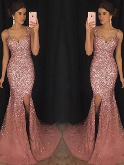 Sweetheart Sequined Prom Dresses