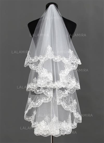 Velos de novia vals Tul Uno capa Estilo clásico con Con Aplicación de encaje Velos de novia (006013292)