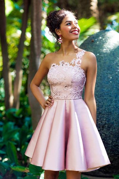 Apliques de Renda Vestidos princesa/ Formato A Coquetel Cetim Vestidos de boas vindas (022216252)