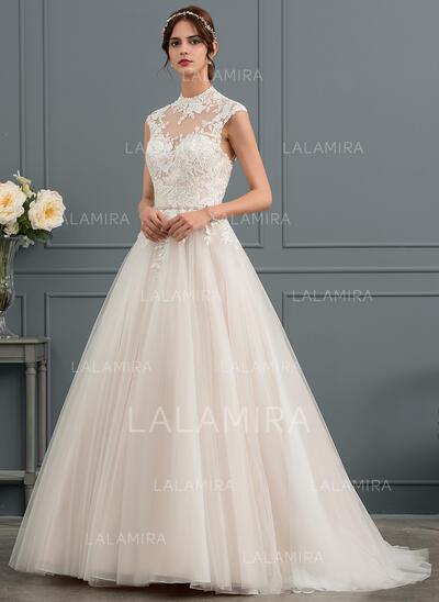 Robe Marquise/Princesse Illusion Balayage/Pinceau train Tulle Robe de mariée avec Paillettes (002153424)