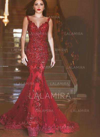 Trumpet/Mermaid Tulle Prom Dresses Beading Appliques Lace Sequins V-neck Sleeveless Sweep Train (018148417)