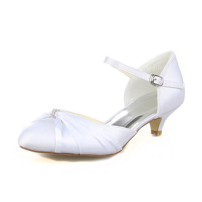 Women's Closed Toe Pumps Kitten Heel Satin With Rhinestone Wedding Shoes (047205156)