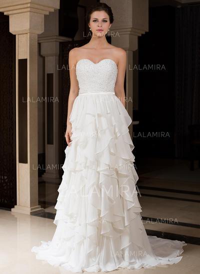 A-Line/Princess Sweetheart Sweep Train Wedding Dresses With Beading Cascading Ruffles (002210501)