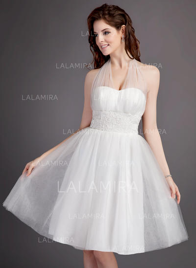 Knee-Length Sleeveless A-Line/Princess - Tulle Wedding Dresses (002213300)