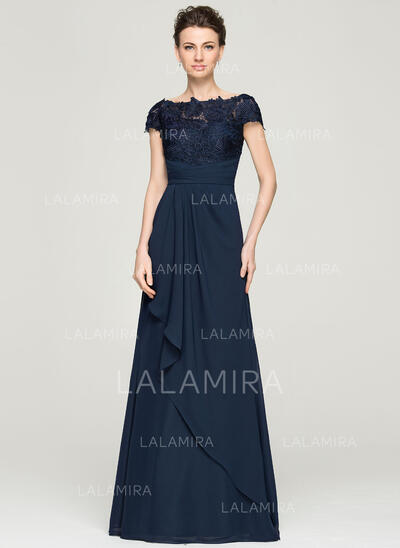 A-Line/Princess Off-the-Shoulder Floor-Length Chiffon Lace Evening Dress With Cascading Ruffles (017092342)
