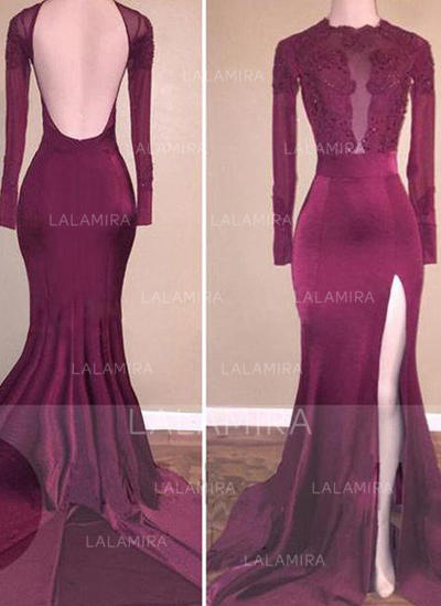 Trumpet/Mermaid Jersey Prom Dresses Beading Appliques Lace Split Front Scoop Neck Long Sleeves Sweep Train (018148452)