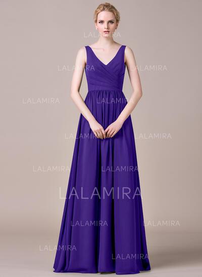 A-linjainen/Prinsessa V-kaula-aukko Lattiaa hipova pituus Sifonki Morsiusneitojen mekko jossa Rypytys (007053518)