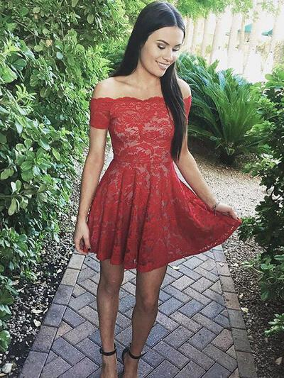 Short/Mini A-Line/Princess Lace Short Sleeves Homecoming Dresses (022212392)