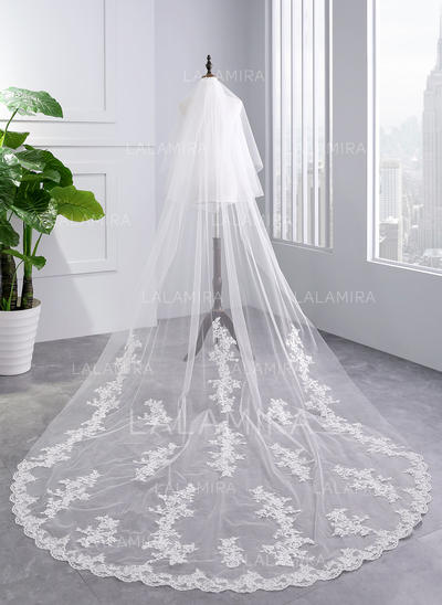 Cathedral Bridal Veils Tulle Two-tier With Lace Applique Edge With Lace Wedding Veils (006152504)