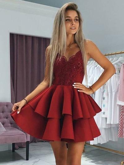 Ruffle Appliques V-neck Satin A-Line/Princess Homecoming Dresses (022219303)